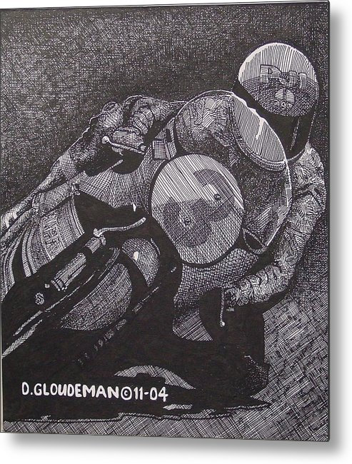 Sports Metal Print featuring the drawing Faster by Denis Gloudeman