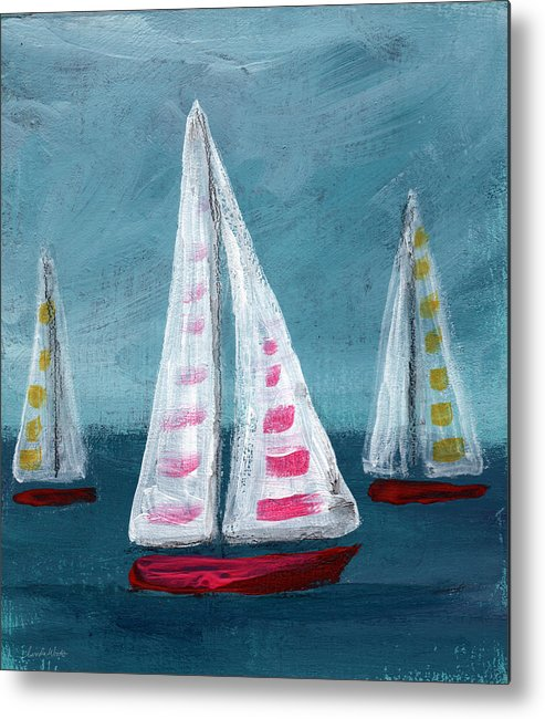 Boats Metal Print featuring the painting Three Sailboats by Linda Woods