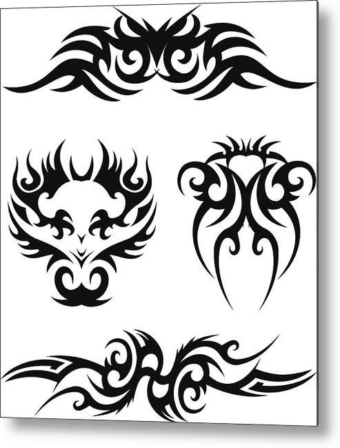 Tribal Tatto Design Metal Print By Designergun