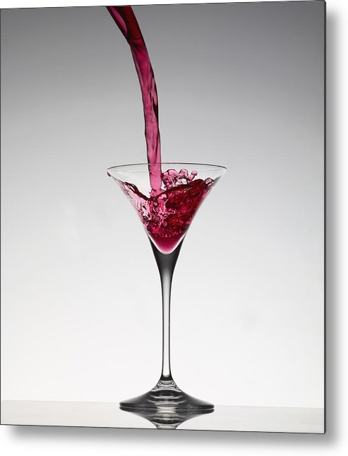 Vertical Metal Print featuring the photograph Cocktail Pouring Into Martini Glass by Walter Zerla