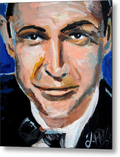 James Metal Print featuring the painting James Bond by Jon Baldwin Art