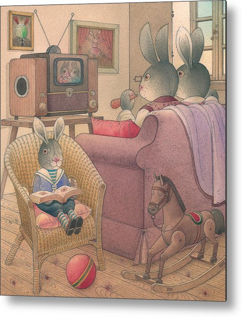 Evening Family Tv Rabbit Animal Metal Print featuring the painting Rabbit Marcus The Great 08 by Kestutis Kasparavicius