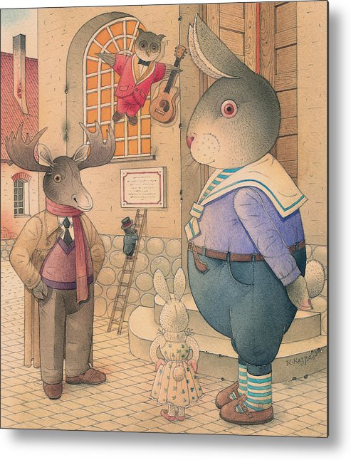 Party Evening Dance Rabbit Town Metal Print featuring the painting Rabbit Marcus The Great 21 by Kestutis Kasparavicius