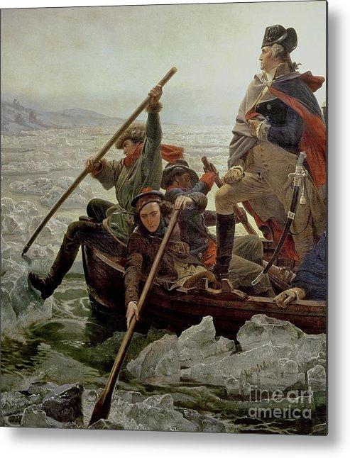 Washington Crossing The Delaware River Metal Print featuring the painting Washington Crossing The Delaware River 1 by Emanuel Gottlieb Leutze