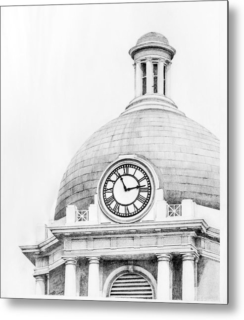 Bibb County Court House Courthouse Clock Tower Dome Cupola Brick Copper Georgia Historic Macon Architectural Columns Architecture Metal Print featuring the drawing Bibb Courthouse 1 by Danyelle McDow