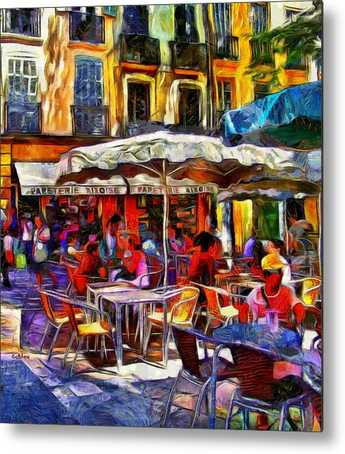 Provence Metal Print featuring the digital art Cafe Provence by PhotoArt By Gretchen