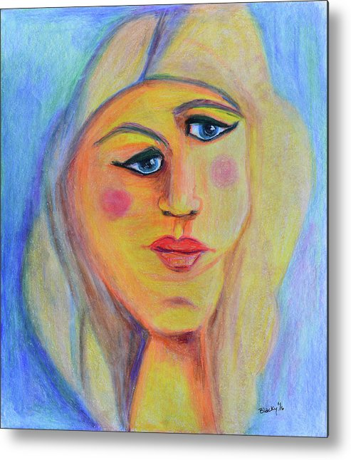Abstract Portrait. Abstract Expressionism Metal Print featuring the drawing Can't See Eye To Eye by Donna Blackhall