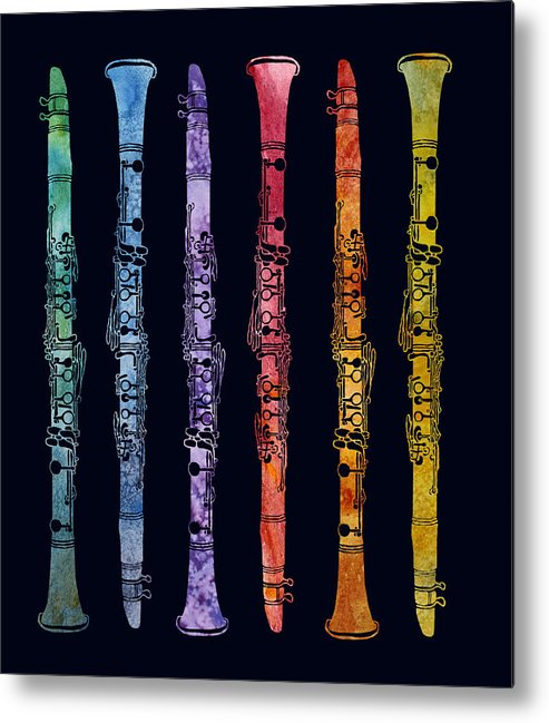 Clarinets Metal Print featuring the digital art Clarinet Rainbow by Jenny Armitage