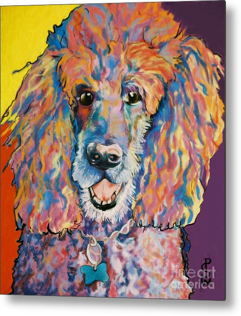 Standard Poodle Metal Print featuring the painting Cole by Pat Saunders-White