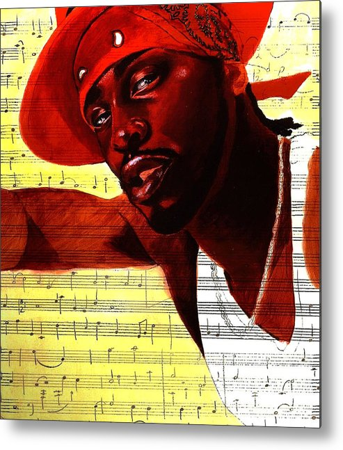 Portraits Metal Print featuring the painting D'angelo-singer by Raphael Sanabria