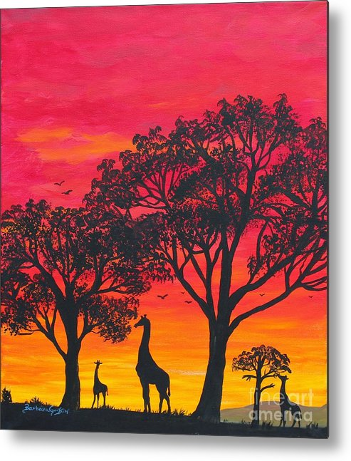 Barbara Griffin Metal Print featuring the painting Desert Sunset 2 by Barbara Griffin