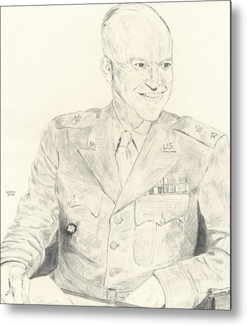 Dwight D. Eisenhower Metal Print featuring the drawing Dwight David Eisenhower by Dennis Larson