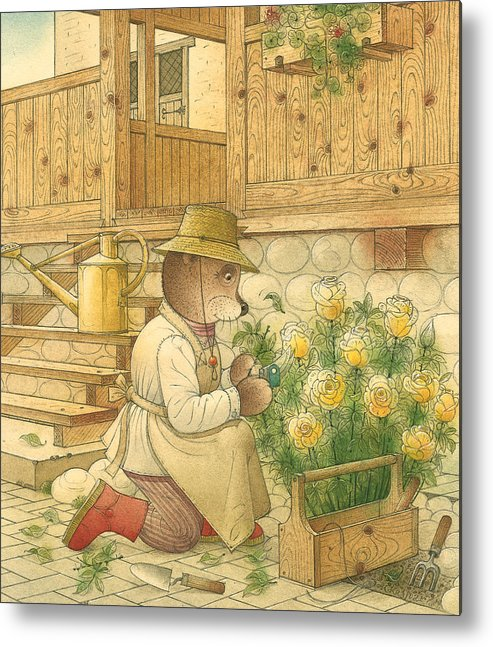 Bears Flowers Roses Garden Love Metal Print featuring the painting Florentius The Gardener04 by Kestutis Kasparavicius
