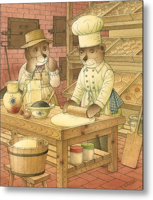 Bears Kitchen Magic Bakery Gastronome Red Metal Print featuring the painting Florentius The Gardener14 by Kestutis Kasparavicius