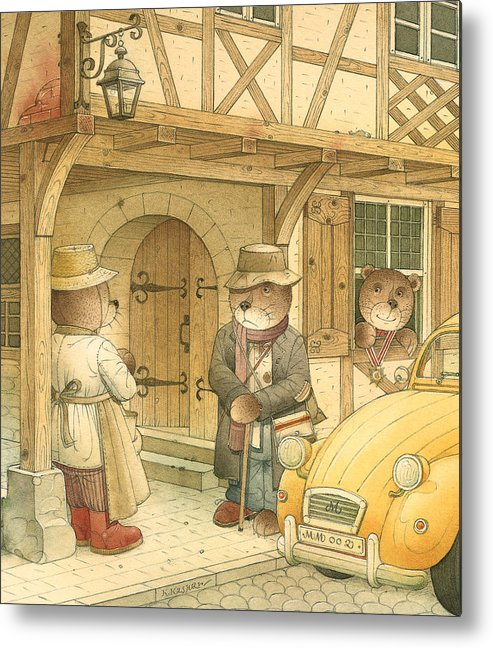 Bears Town Brown Metal Print featuring the painting Florentius The Gardener15 by Kestutis Kasparavicius