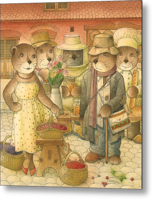 Love Bears Roses Flowers Town Berry Metal Print featuring the painting Folrentius The Gardener07 by Kestutis Kasparavicius