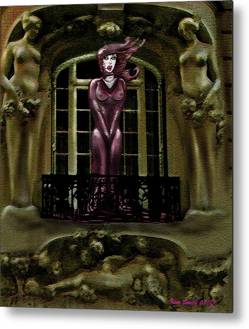 Vampires Metal Print featuring the digital art French Quarter Vamp by Kim Souza