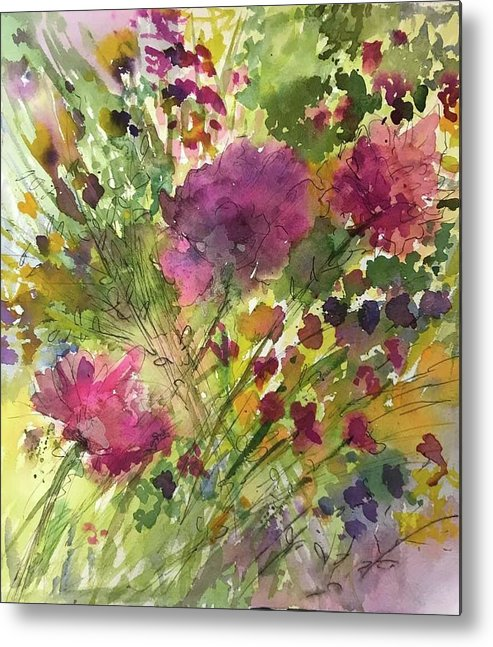 Watercolor Flowers Metal Print featuring the painting Glorious Flowers by Donna Eaton
