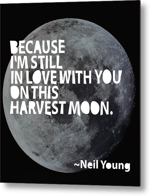 Neil Young Metal Print featuring the painting Harvest Moon by Cindy Greenbean