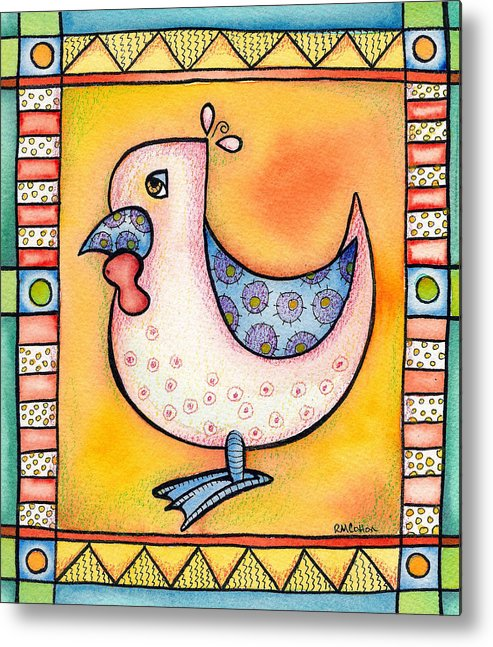 Rooster Metal Print featuring the mixed media Jewel Rooster 1 by Rachel Cotton