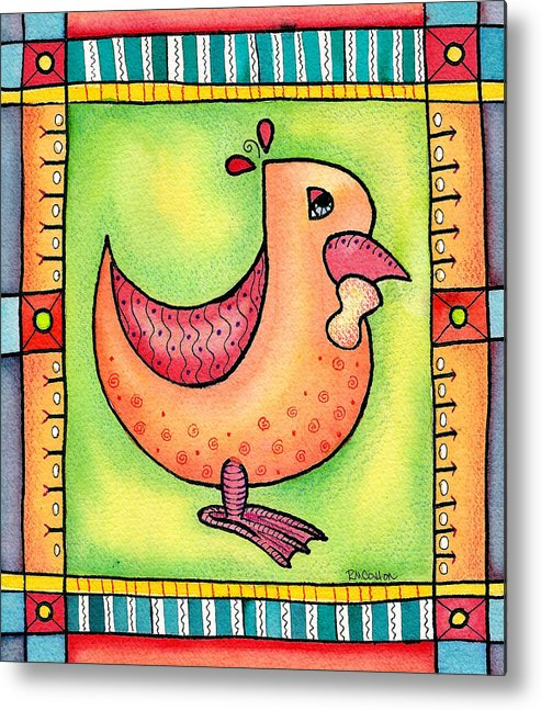 Rooster Metal Print featuring the mixed media Jewel Rooster II by Rachel Cotton