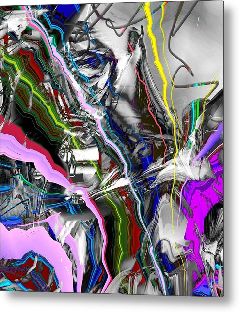 Abstract Pink Purple Red Metal Print featuring the digital art Little Wire by Dave Kwinter