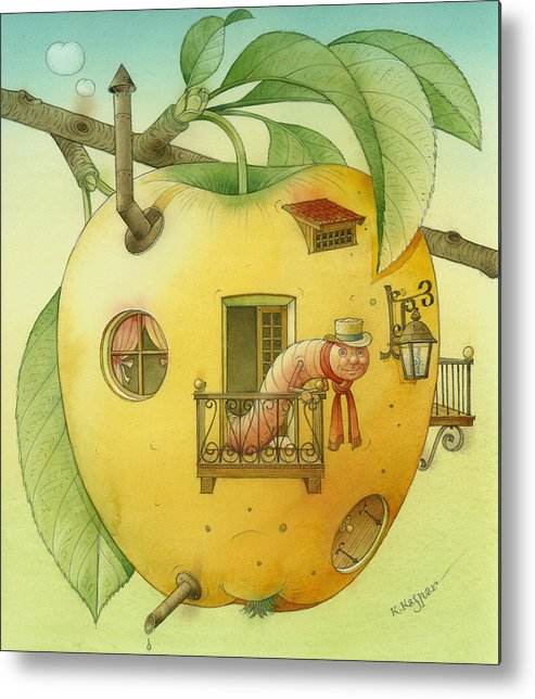 Landscape Apple Autumn Nature Illustration Yellow Home Metal Print featuring the painting New House by Kestutis Kasparavicius