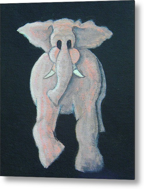 Animal Metal Print featuring the painting Pink Elephant 1 by James Violett II