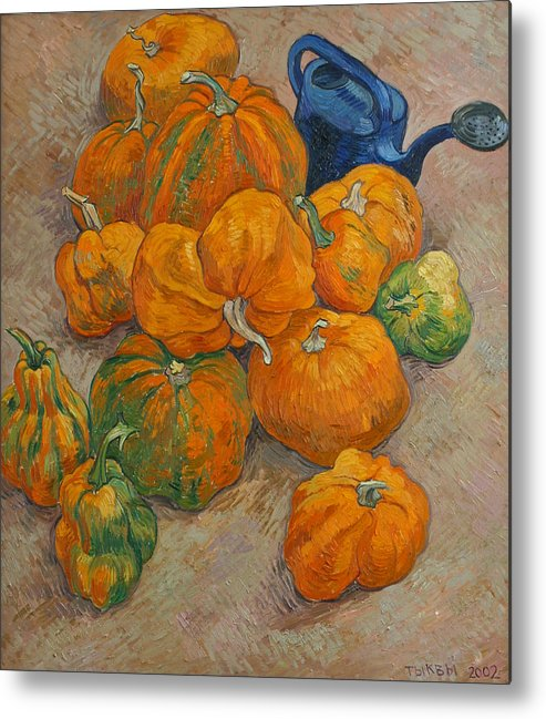 Still Life Metal Print featuring the painting Pumpkins And Watering Can by Vitali Komarov