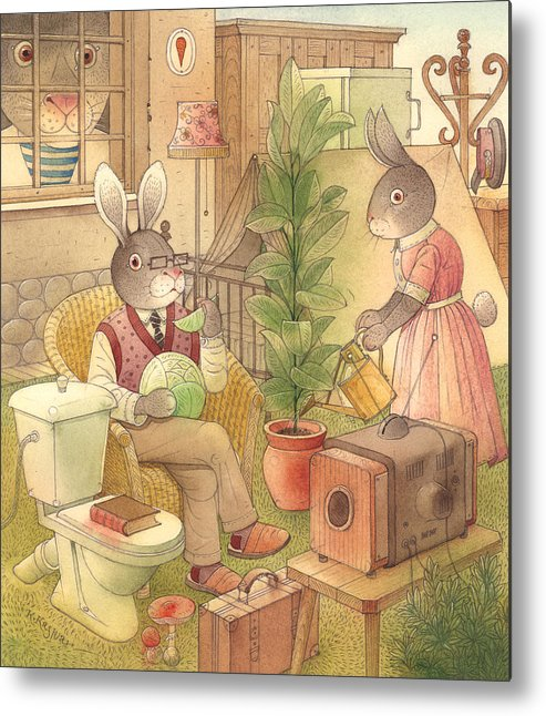 Rabbit Animal Illustration Summer Garden Metal Print featuring the painting Rabbit Marcus The Great 02 by Kestutis Kasparavicius