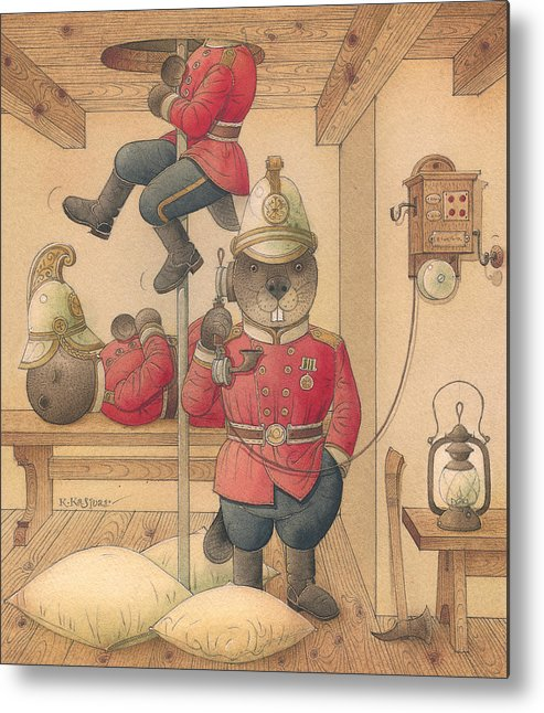 Fireman Beaver Animak Metal Print featuring the painting Rabbit Marcus The Great 14 by Kestutis Kasparavicius