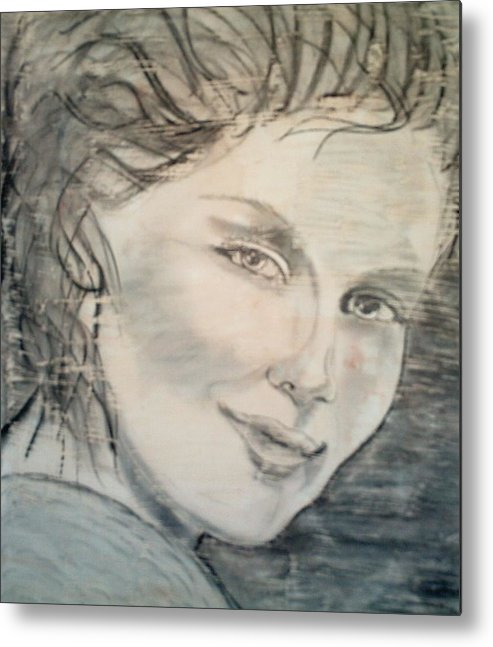 Woman Metal Print featuring the drawing Savannah Smiles Again by J Bauer