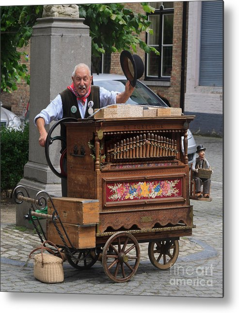 Street Metal Print featuring the photograph Street Entertainer In Bruges Belgium by Louise Heusinkveld