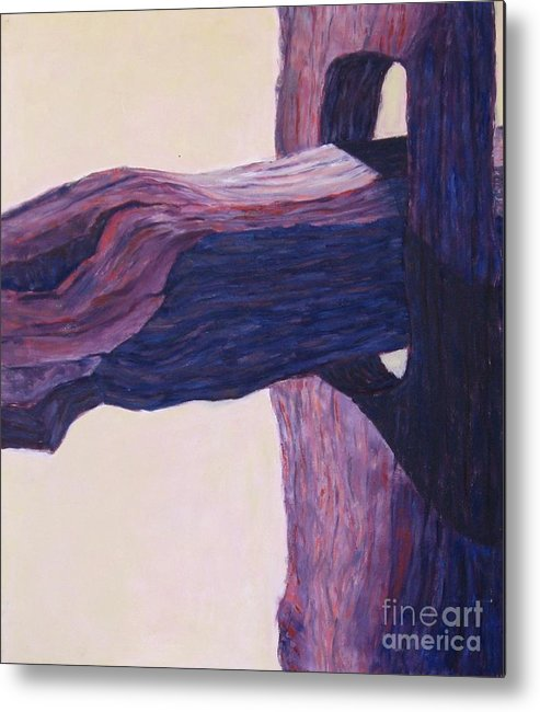 A Monochromatic Study Of A Wooden Fencepost Metal Print featuring the painting The Fencepost by Judith Espinoza