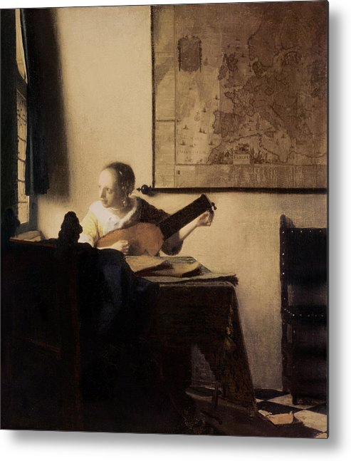 Woman With A Lute Metal Print featuring the painting Woman With A Lute by Jan Vermeer