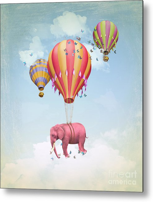 Magic Metal Print featuring the digital art Pink Elephant In The Sky With Balloons by Ganna Demchenko
