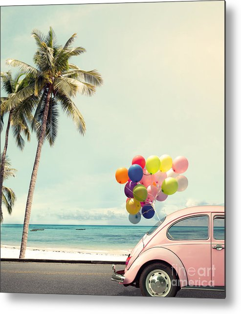 Birthday Metal Print featuring the photograph Vintage Card Of Car With Colorful by Jakkapan