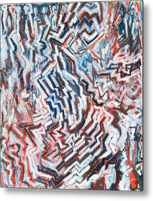Abstract White Red Brown Blue Layered Pattern Metal Print featuring the painting Heart Of Slate by Joan De Bot