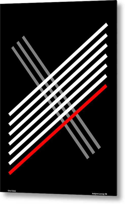 Cris Cross Metal Print featuring the digital art Composition Cris Cross by Asbjorn Lonvig