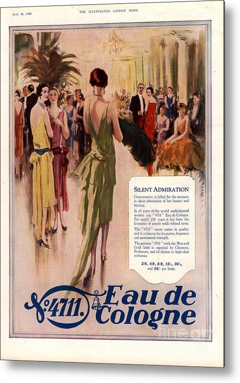 1920�s Metal Print featuring the drawing 1928 1920s Uk 4711 Eau De Cologne by The Advertising Archives