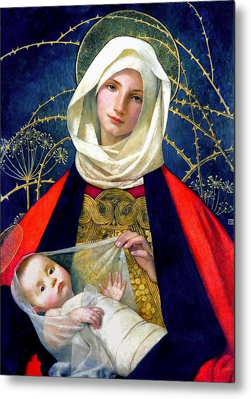 Madonna And Child Metal Print featuring the painting Madonna And Child by Marianne Stokes