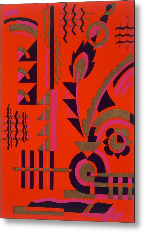 Motif Metal Print featuring the painting Design From Nouvelles Compositions Decoratives by Serge Gladky