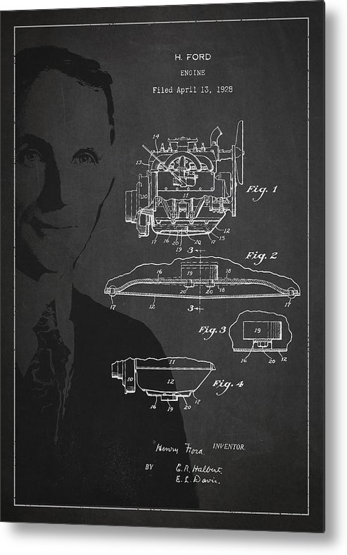 Henry Ford Metal Print featuring the drawing Henry Ford Engine Patent Drawing From 1928 by Aged Pixel