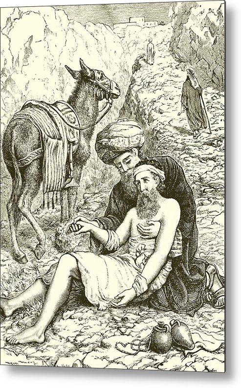 Bible Metal Print featuring the drawing The Good Samaritan by English School