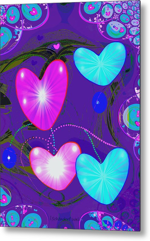 Abstract Metal Print featuring the painting 472 - Valentine Hearts ... by Irmgard Schoendorf Welch