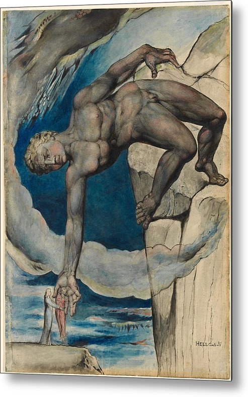 William Blake Metal Print featuring the painting Antaeus Setting Down Dante And Virgil In The Last Circle Of Hell by William Blake