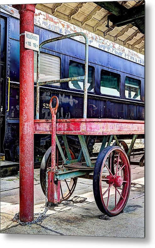 Passenger Train Photograph Metal Print featuring the photograph At The Station by Ann Allison-Cote'
