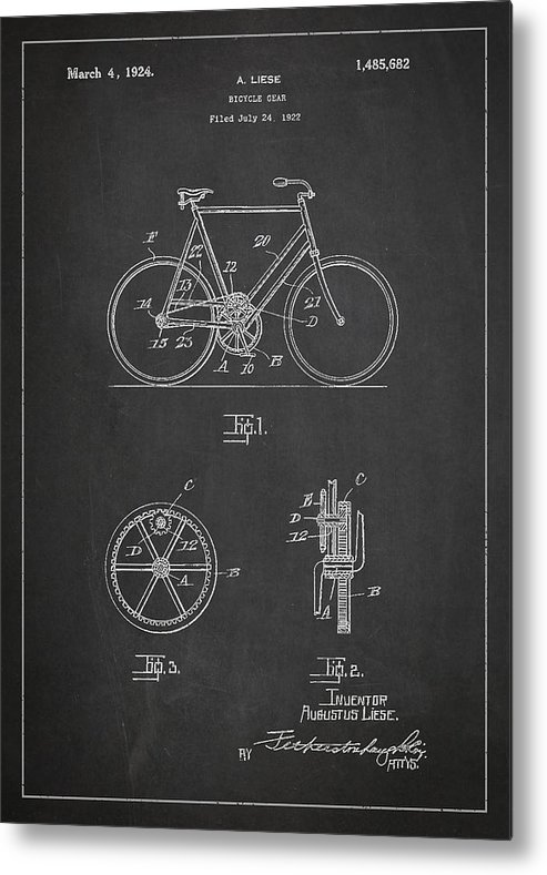Bicycle Patent Metal Print featuring the digital art Bicycle Gear Patent Drawing From 1922 - Dark by Aged Pixel