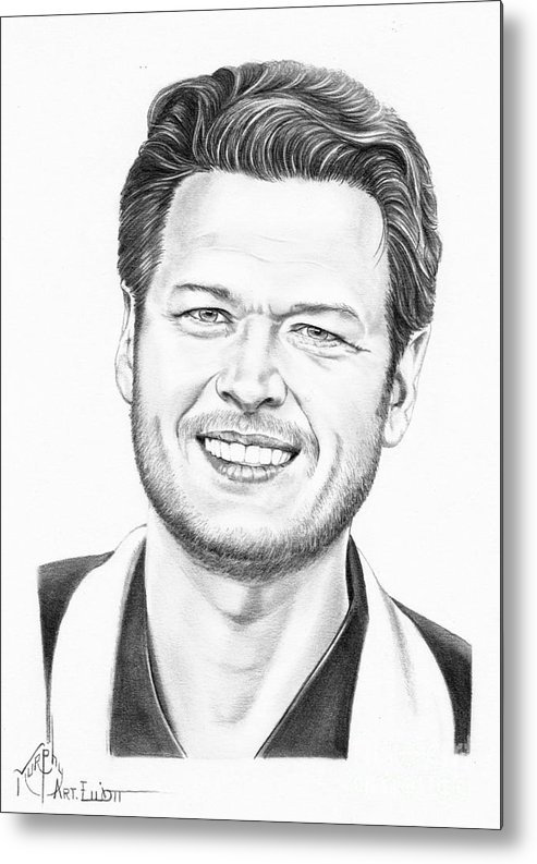 Pencil Metal Print featuring the drawing Blake Shelton by Murphy Elliott