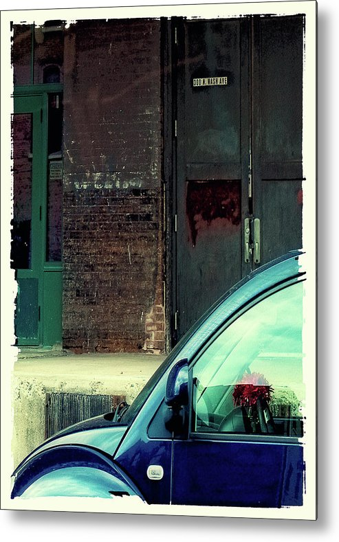 Blue Car Metal Print featuring the digital art Blue Car On Washington Avenue In Minneapolis by Susan Stone
